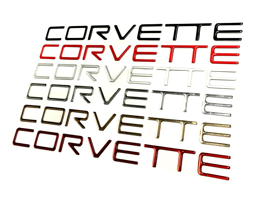 Now Available From SCP C4 Corvette Domed Bumper Lettering