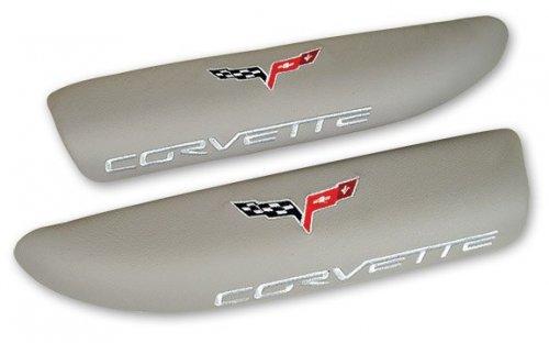 C6 Corvette Logo Embroidered Leather Armrest Pads Light Titanium Gray