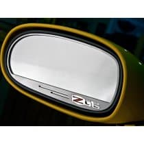 C6 Corvette Side View Mirror Trim Rings w/Z06 Logo - Brushed