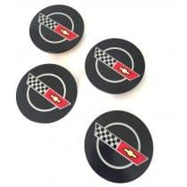 C4 Corvette 1984 1985 Wheel Center Caps with Emblems
