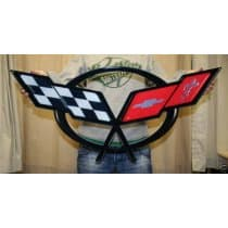 "C5 Corvette Cross Flags 32""x15"" Metal Wall Hanging Sign"