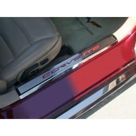C6 Corvette Inner Doorsills w/Carbon Fiber CORVETTE Lettering