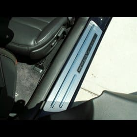 Corvette C6 Brushed Stainless Ribbed Stock Doorsills