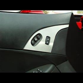 C6 Corvette  Stainless Door Lock Trim Plate w/option button
