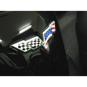 C6 Corvette American Flag Emblem Inserts