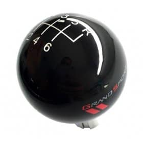 C6 Corvette Shift Knob Black With White Shift Pattern and Grand Sport Logos
