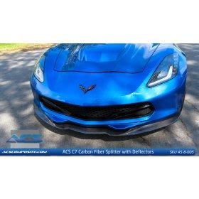 C7 Corvette 2014-2018 ACS Front Splitter with Deflectors Carbon Fiber