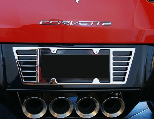 c7 corvette stingray billet chrome license plate frame