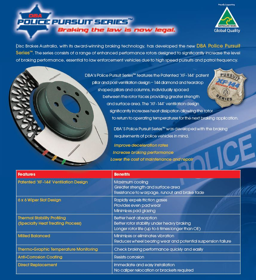 Police Pursuit DBA Brake Rotors