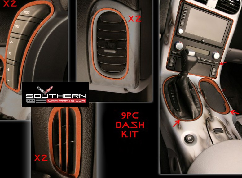 c6 corvette complete stainless steel dash kit custom painted. Black Bedroom Furniture Sets. Home Design Ideas