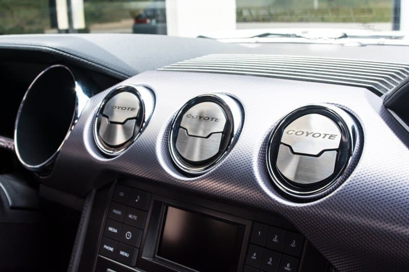 2015 2017 mustang a c vent 3 trim kit brushed w etched coyote. Black Bedroom Furniture Sets. Home Design Ideas
