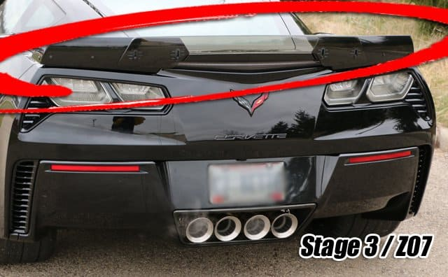 2014 2018 C7 Corvette Z06 Z07 Stage 3 Style Painted Rear