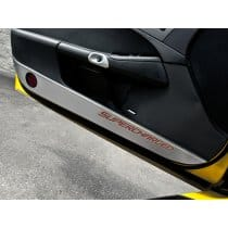 C6 Corvette Door Guards - Brushed w/Carbon Fiber SUPERCHARGED
