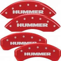 "2003-2009 GM Hummer H2 Red Caliper Covers with ""HUMMER"" engraved"