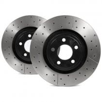 2015-2017 Mustang DBA2164BLKX Street Series Rotor - Cross Drilled/Slotted Uni-Directional Rotor