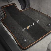 2017 6th Generation Camaro Premium Carpet Floor Mats FIFTY Logo and Ignite Orange binding