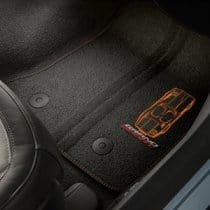 C7 Corvette Grand Sport Embroidered Floor Mats Black with Kalahari Stitching
