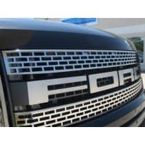 2010-2014 Ford Raptor Upper Front Grille Brushed 2Pc