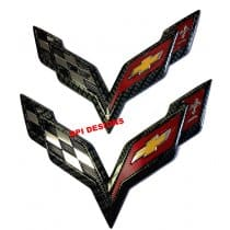 C7 Corvette Carbon Fiber Crossed Flag Emblems