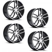 C7 Corvette Z51 Style Black w/Machined Face Wheels (Set)