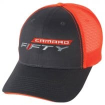 Camaro FIFTY Logo Baseball Cap in Neon Orange and Black