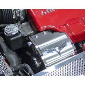 C6 Corvette Alternator Cover w/C6 Flags Logo
