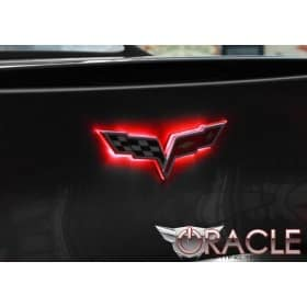 C6 Corvette Illuminated Lighted Crossed flag Emblem