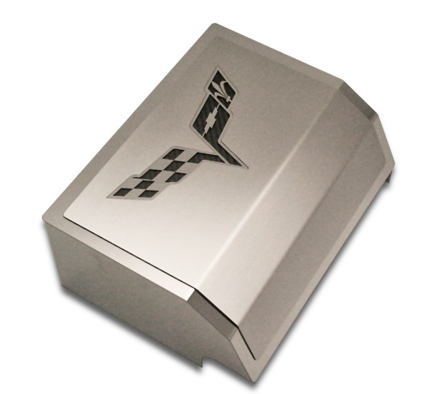 c6 corvette stainless steel fuse box cover with c6 cross flags logo c6 corvette fuse box location c6 corvette stainless steel fuse box cover logo american car craft