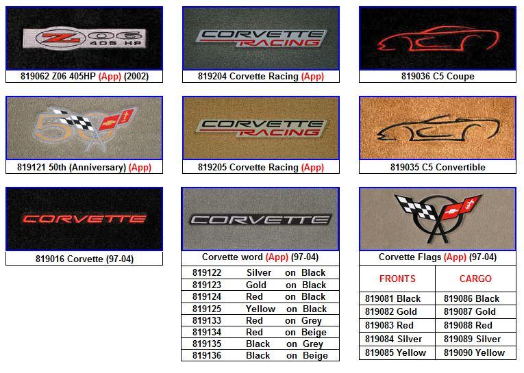 C5 Corvette Floor Mat Logos
