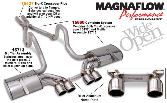 C5 Corvette Exhaust MagnaFlow Cat-Back with X Pipe