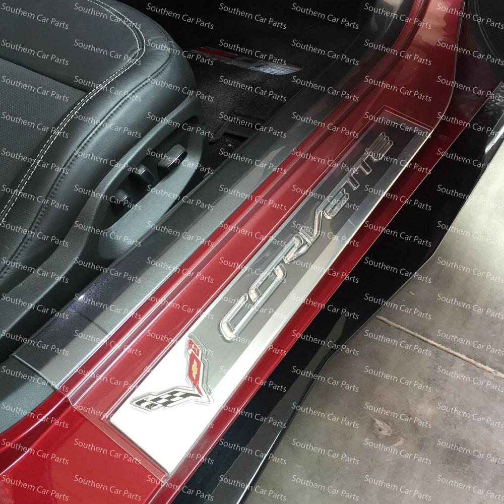 C7 Corvette Stingray Clear Door Sill Protectors with Logos & C7 Corvette Door Sill Protectors with Logos - SouthernCarParts.com